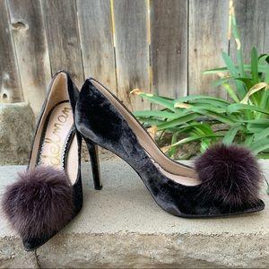 Sam Edelman brown pumps Pom velvet haroldson fur